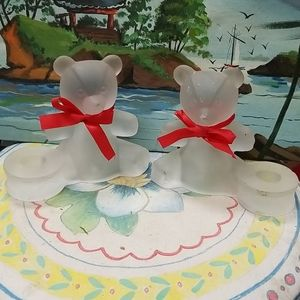 Vintage frosted glass teady bear  set with bows